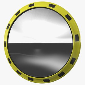 Industrial Round Mirror Yellow Frame 3D model
