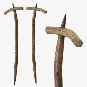 Ancient Digging Stick Tool 3D