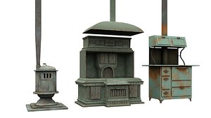3D old stove old and old heater model