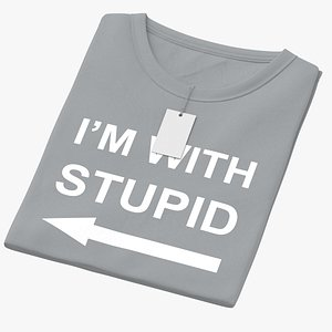 3D Female Crew Neck Folded With Tag Gray Im With Stupid 02