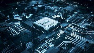 3D C4D Octane CPU chip core capacitance Scifi Circuit board 3D model