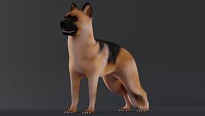 Dog German Shepherd Low Poly Model Game AR VR model