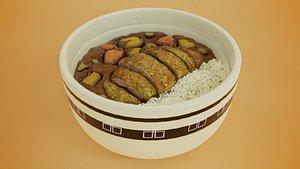 Tonkatsu rice and curry cartoon style 3D
