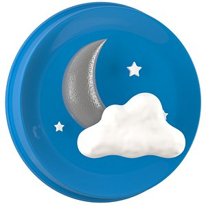 3D Weather Symbols Moon With Clouds