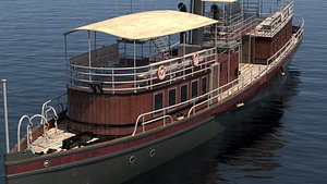3D steam steamboat boat