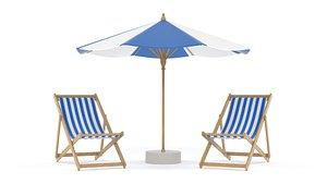 Beach Umbrella and Chair 3D model