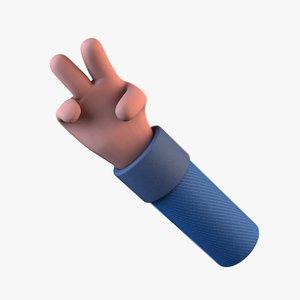 3D Rigged cartoon hand model