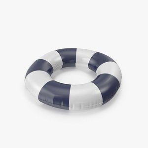 Pool Tubes with Dark Blue Striped Print 3D model