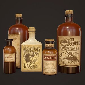 3D Antique Apothecary Bottles - PBR Game Ready model