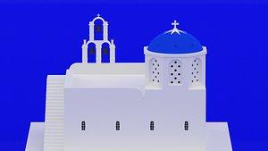 3D model church blue greece