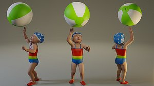 3D child female swwimmingpool swim pool model