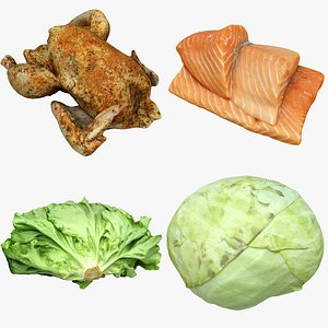 3D salmon chicken cabbage model