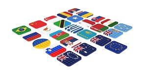 3D model Flags Pop It Fidget Toys Set