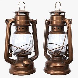 Old metal kerosene lamp 02 3D model