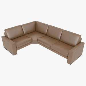3D modular sofa leather brown model