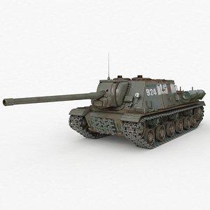 3D Tank ISU 122 Russian Vray