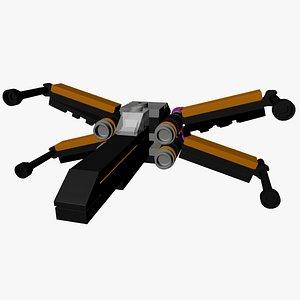 3D lego poe dameron model