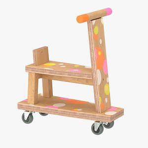 Wooden scooter for kids 3D