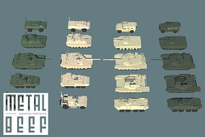 3D vehicles low-poly russian tank model