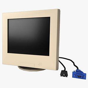 3D Desktop CRT Monitor - Low Poly