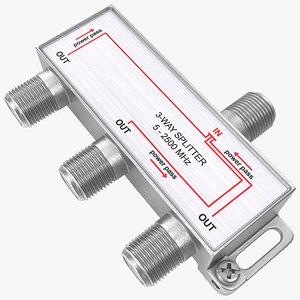 3D Digital Signal 3 Way Coax Cable Splitter