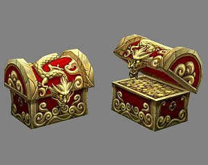 3D Chinese Dragon Treasure Box - treasure chest model