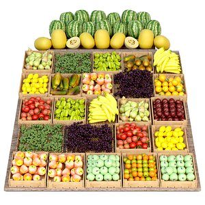 3D Shelf with fruits and vegetables 3