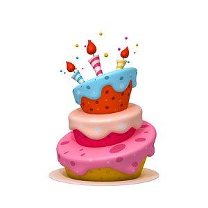 3D Birthday cake 02 cartoon model