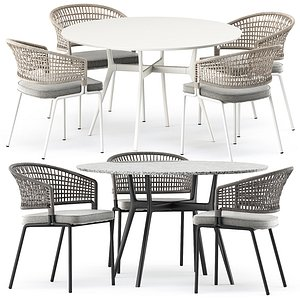3D model BRANCH bistro table and CTR armchair