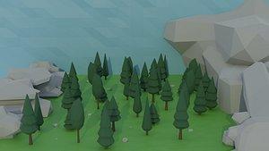cartoon trees rocks asset 3D