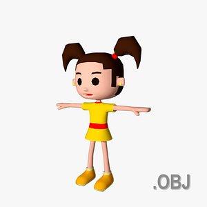 3D Girl White - OBJ - Low Poly Quad