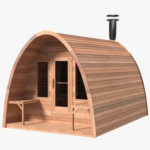 3D model Wooden Outdoor Sauna House