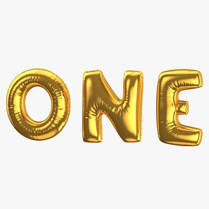 3D Foil Baloon Words One Gold