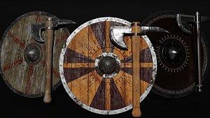 3D model shield axe