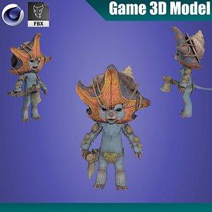 Girl in pink costume 3D model 3D model