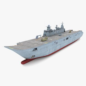 HMAS Adelaide LHD with Helicopters 3D