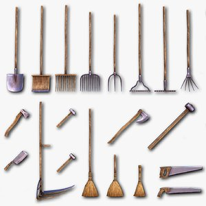 Shovels Rakes Brooms Axes Hammers Knives Saws - 26 PBR objects model
