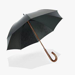 3D model Wooden Umbrella Open
