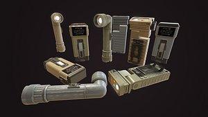 3D military flashlight set model
