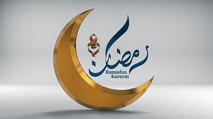modern Ramadan lantern with the word Ramadan Kareem 3D model Description 3D