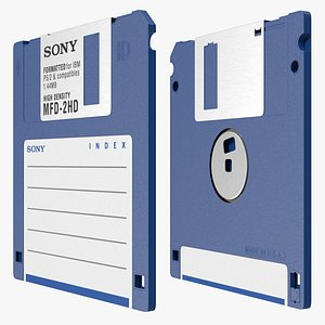 Sony MFD 2HD Double Sided Micro Diskette Blue 3D