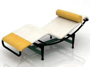 Minimalist Le Corbusier LC4 Black Chaise Lounge 3D