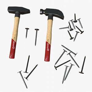 Hammer and Nails Pack 3D model