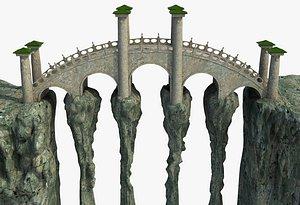 Fantasy Rock Mountain Bridge 3D