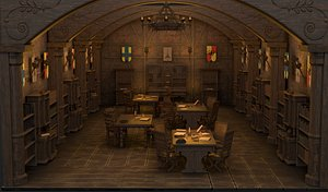 medieval library 3D model