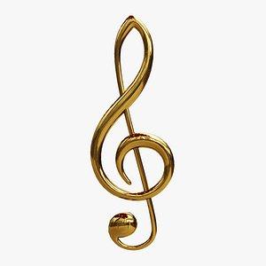 3D clef treble key