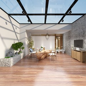 3D Tea Room in Asian Style model