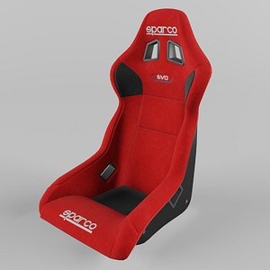 Sparco EVO QRT Sports Racing Seat Suede Red 3D
