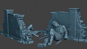 3D model german soldier ww2 killed3