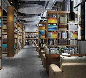 3D model Library Reading Room Bookstore Xinhua Bookstore Bookbar Bookshelf University Library Library